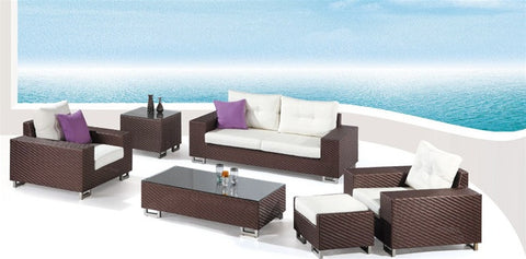 6-piece Poly Rattan Patio Sofa Set