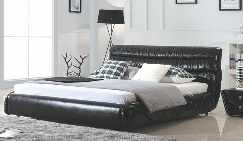 Contemporary King Size Bed in Black Leather, Complete with Mattress SD2397