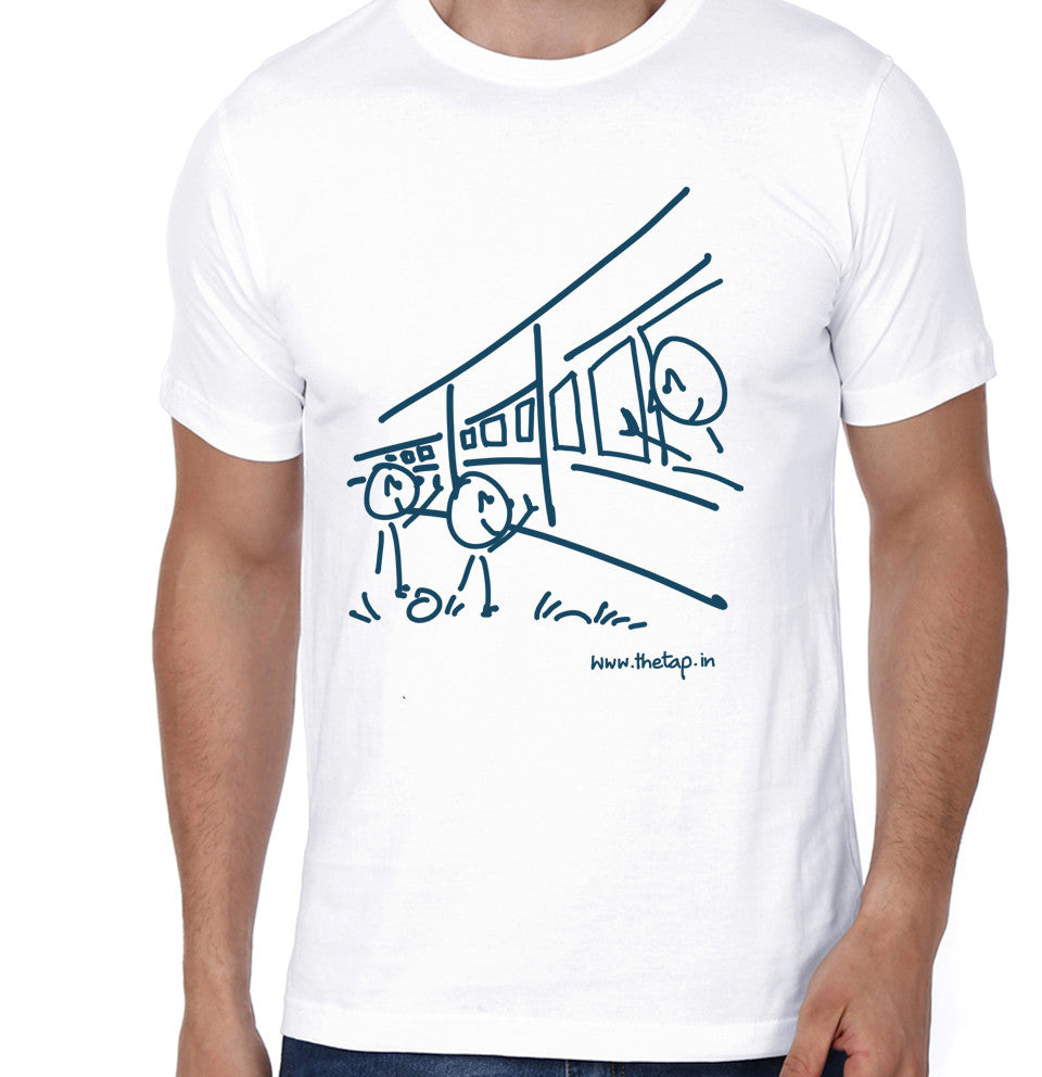 For the love of train rides! White unisex t-shirt