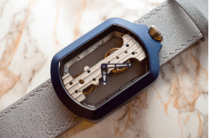 Atto Verticale Blue Rectangle Case Pale Blue Leather Strap
