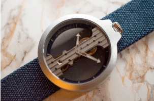 Atto Verticale Grey Case Denim Canvas Strap