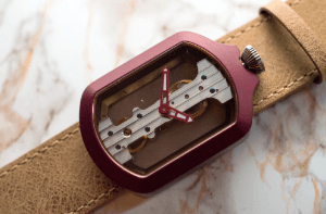 Atto Verticale Maroon Rectangle Case Tan Leather Strap