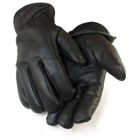 Black Deer Skin Leather Gloves (Lined)