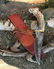 Damascus Steel Antler Knife