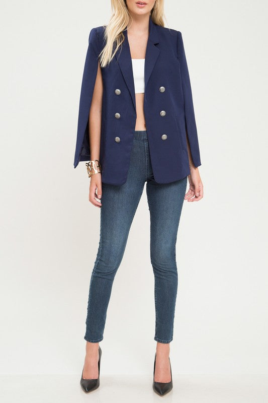 Navy Cape Blazer