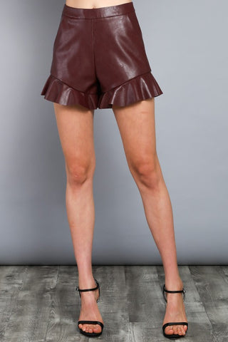 Ruffle Leather Shorts