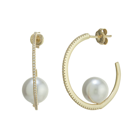 Zirconia Pearl Hoop Earrings