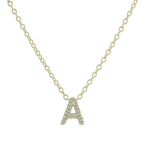 Gold Zirconia Initial Necklace