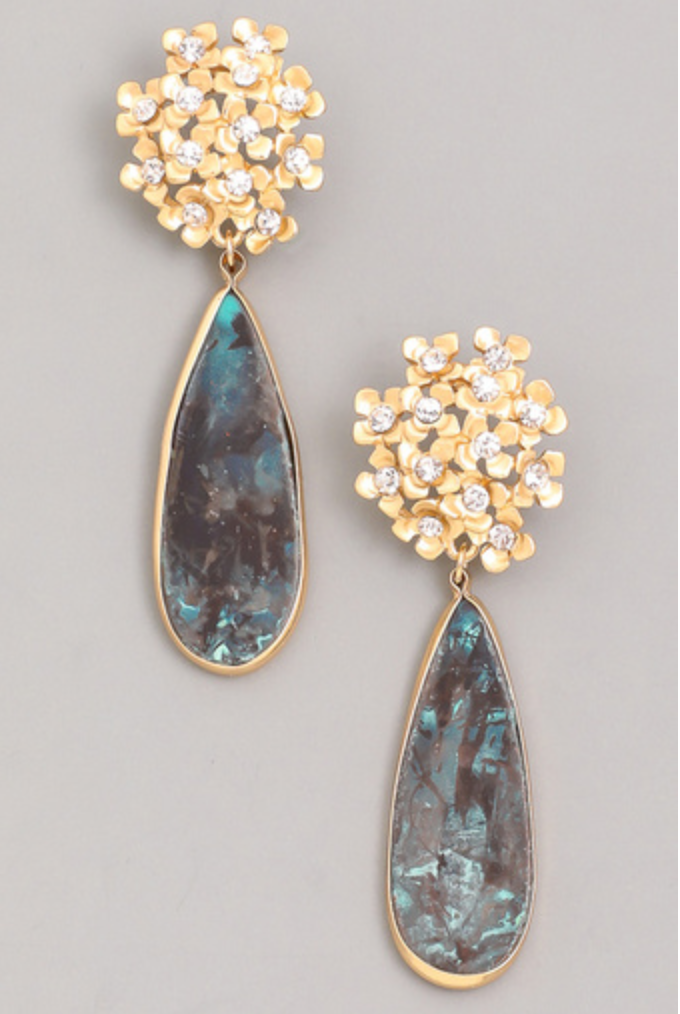 Flower Oval Drop Earrings