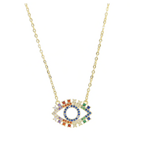 Evil Eye Rainbow Necklace