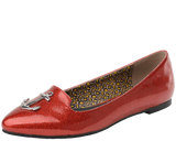 Red Sparkle Anchor Patent Pointed Toe Flats
