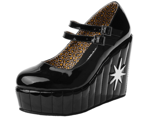 T.U.K. Women's Mary Jane Starburst Wedge Pump - Special Edition Lux De Ville