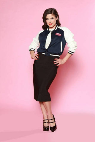 Bettie Varsity Lettermans Jacket - Navy and White