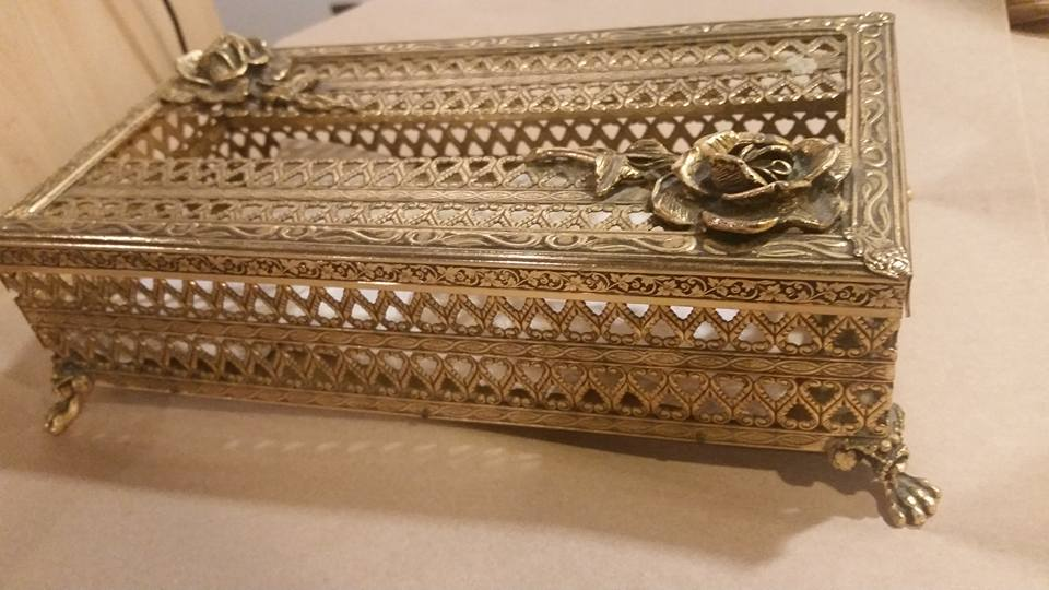 Vintage 1950s Ormolu Gold Ornate Footed Boudoir Tissue Box with Lid