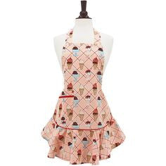Retro Cherry Sundaes Hostess Apron by Jessie Steele