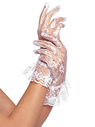 Wrist Length Lace Gloves with Ruffle