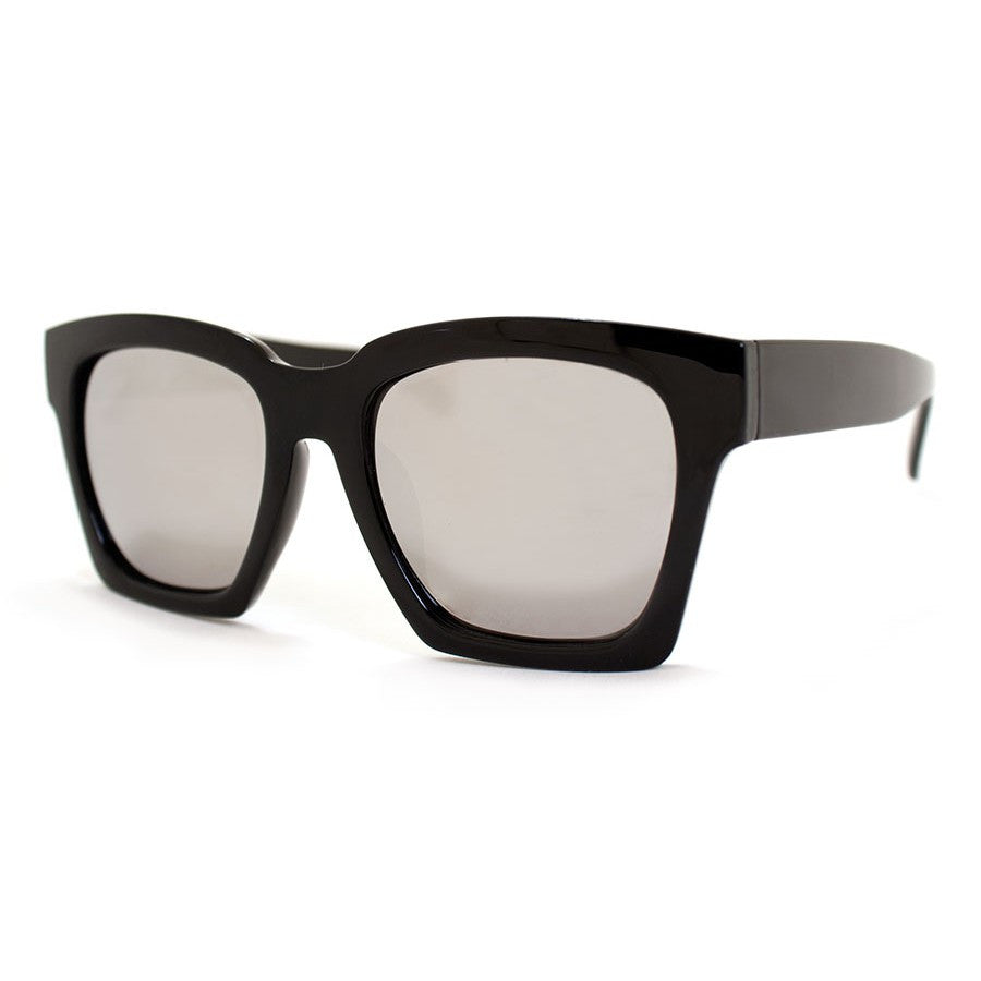 Knock Black with Mirrored Lens Sunglasses - Unisex