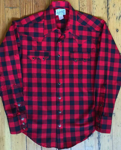 Men's Western Shirt: Buffalo Check Red and Black