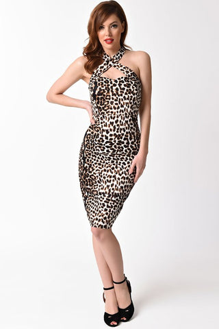 Leopard print Criss Cross Wiggle Dress
