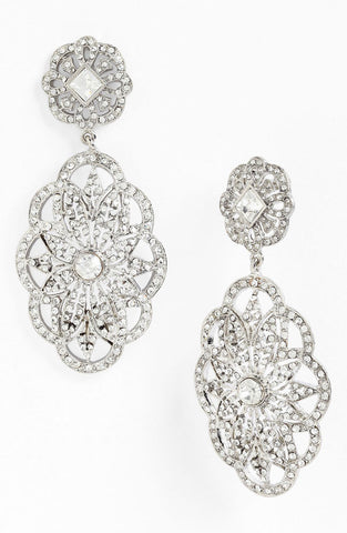 1920s Inspired Vintage Crystal Statement Earrings