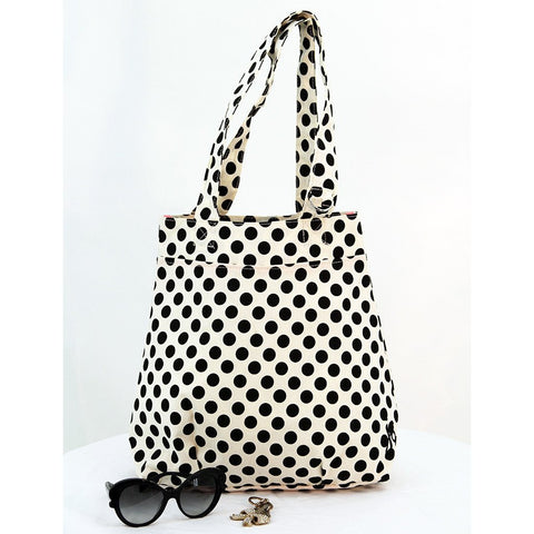Cream and Black polka Dot Tote