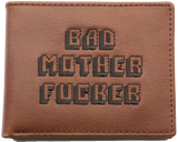 Brown Embroidered Bad Mofo Leather Wallet
