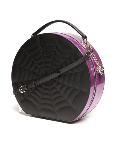 Black Widow Hatbox Purse Electric Purple Sparkle
