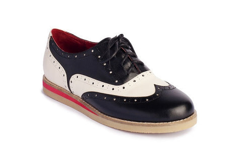 Ladies Cecilia Wingtip Saddle Shoes (Genuine Leather)