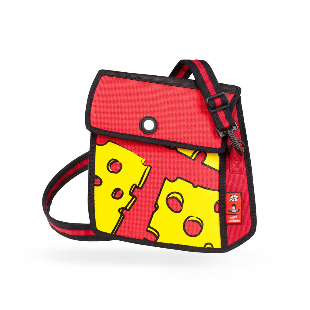 Jump from Paper 2-D Cartoon inspired Shoulder Bag - Cheese Print