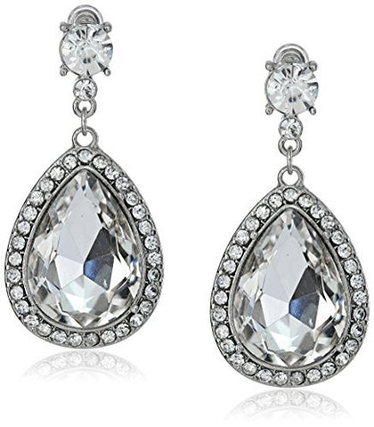 'Shanna' Large Pear Shaped Crystal Drop Earrings