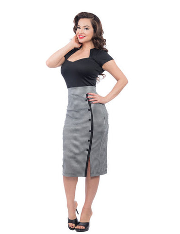 Sarina Button Pencil Skirt in Houndstooth