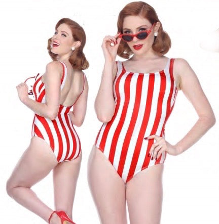 Bettie Page Red and White Striped 1 pc Tank Swimsuit