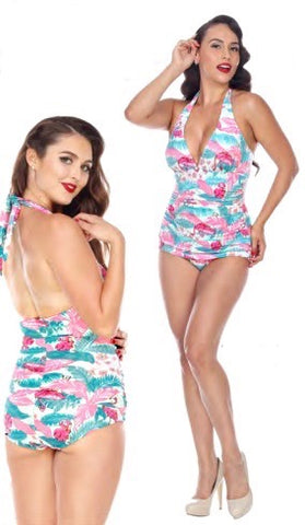Bettie Page Flamingo Paradise Swimsuit 1 piece