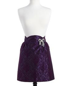 Flocked 'Purple Prince' Damask Bouquet Half Apron