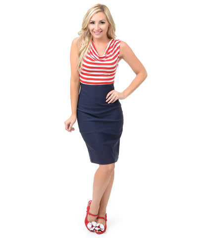 1950s Style Red, White & Navy Striped Sally Wiggle Dress
