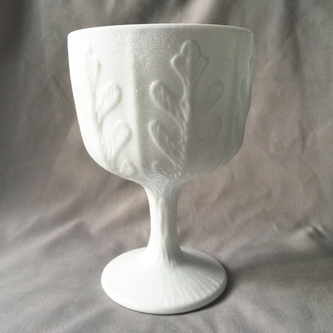 Vintage 1970s White Milk Glass Goblet - Home Decor