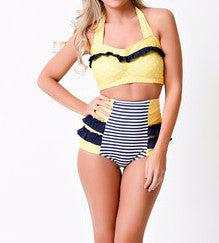Vintage inspired High Waisted Polka Dot Pinup Swimsuit