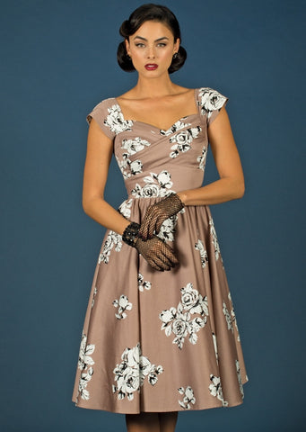 Gardenia Swing Dress in Taupe Rose Print