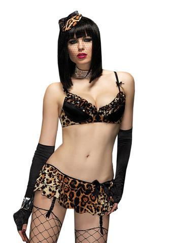 Jane in the Jungle Leopard Bra and Garter Skirt - 2 pc Set