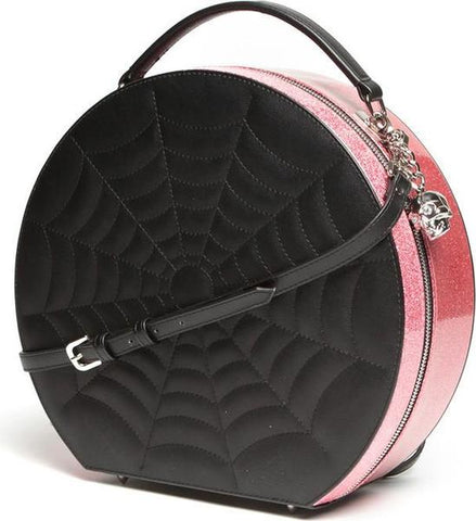 Black Widow Hatbox Purse Pink Bubbly Sparkle