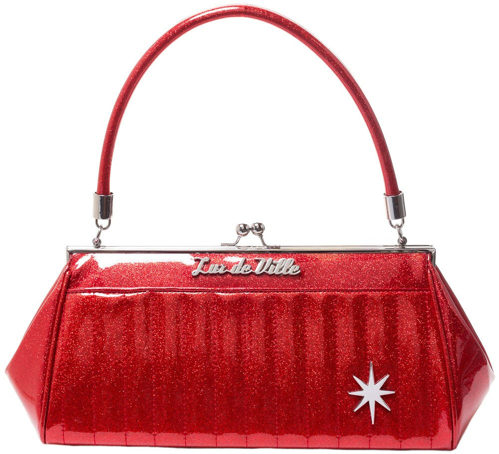 Lux De Ville Stardust Kiss Lock Red Sparkle Handbag