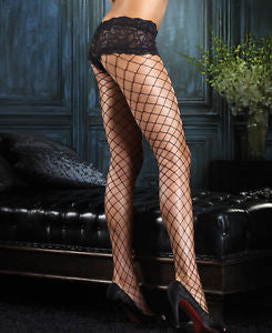 Leg Avenue Fence Net Pantyhose with Boyshort Top in Black