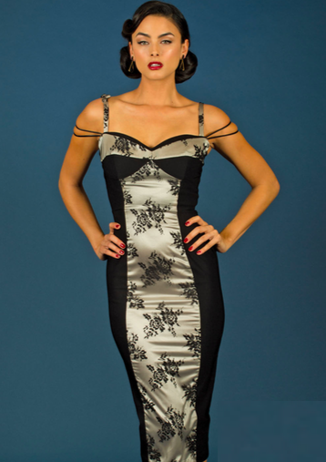 Stop Staring! Rica Millenium Bengaline Stretch Wiggle Dress Black w Lace Inset