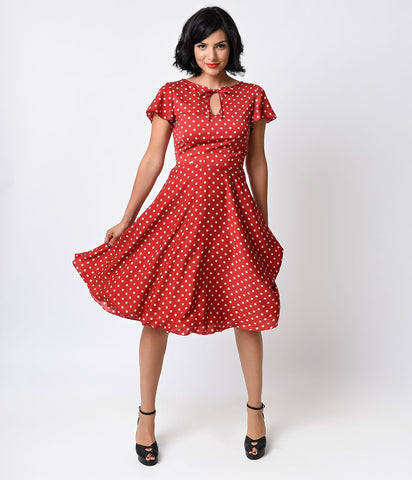 1940s Style Red & Ivory Dot Formosa Swing Dress