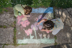 Get creative outdoors - chalk drawing