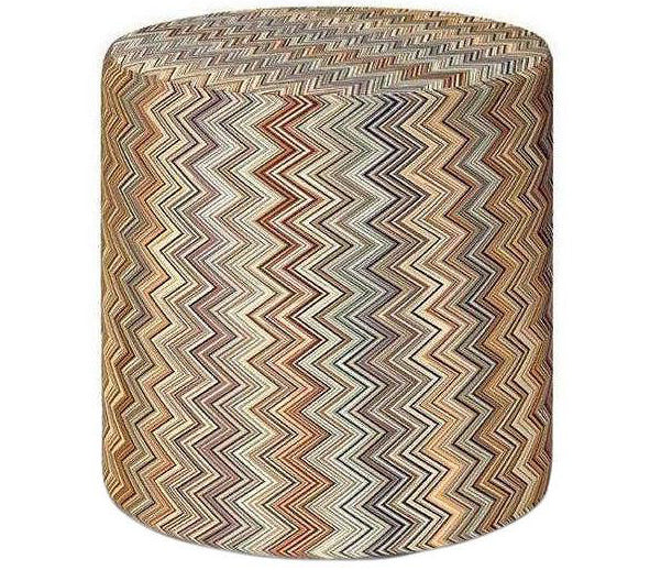 Missoni Home Jarris Round Multi Beige Pouf 18x18 in