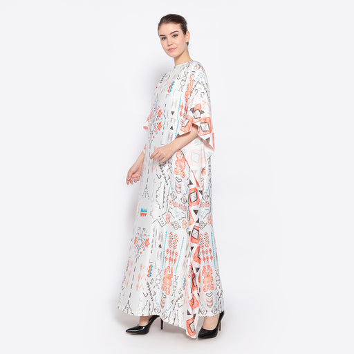 White Tribal Printed Kaftan