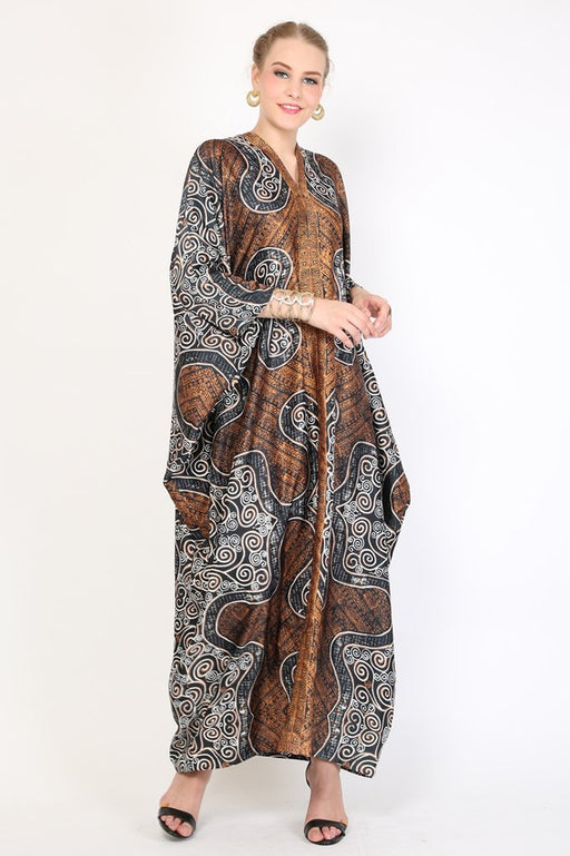 Kanzi Long Sleeve Brown Batik Kaftan