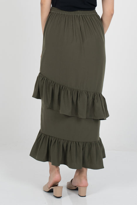 Dalina Tier Skirt - Army Green - RoseValley