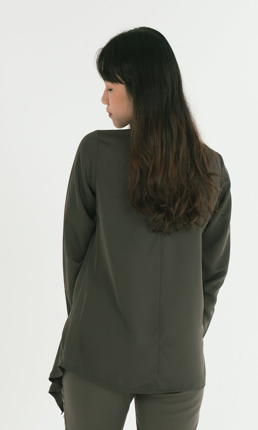 Asymmetrical Side Pleat Top in Green - RoseValley